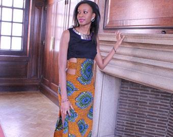 African Print Cut-out Dress