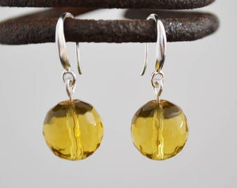 Yellow faceted glass silver earrings, Faceted glass silver earrings, Yellow glass silver earrings, Yellow glass sterling silver earrings