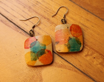 Gourd Earrings Abstract design Collection 2018 (orange/yellow/turquoise)
