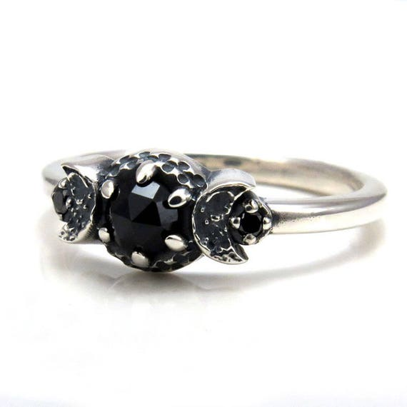 gothic wedding rings new moon crescent moon phase ring black diamonds and black 4587
