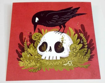 Raven and Skull Square 8x8 art print with gold foil