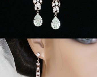 Rose Gold Wedding Earrings Long Bridal Earrings Swarovski Crystal Rhinestone Filigree Earrings Wedding Jewelry MARCELLA CRYSTAL
