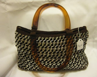 Soda tabs Purse handmade brown homemade knitted elegant evening handcrafted top handles