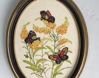 Vintage Butterfly and Floral Custom Framed Needlework Artwork Crewel Embroidery