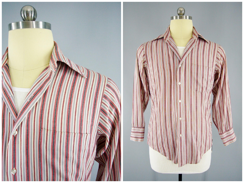 1960s Vintage Mens Dress Shirt Striped Dress Shirt