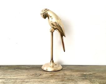 Brass Parrot on Perch