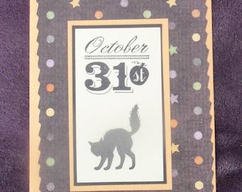 Halloween Black Cat Handmade Card