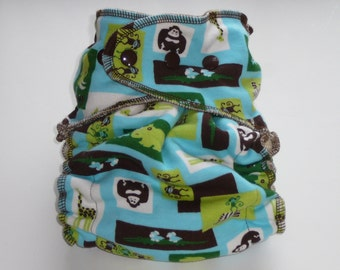 ORGANIC BAMBOO VELOUR Fitted CLOTH Diaper................ ONE Size FITS ALL...............Gender Neutral MINT ZOO