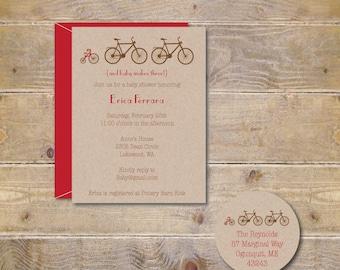 Bicycle Baby Invitation, Bike, Tricycle, Baby Shower Invitations, Tricycles, Bicycle Invitations, Baby Boy, Girl, Gender Neutral