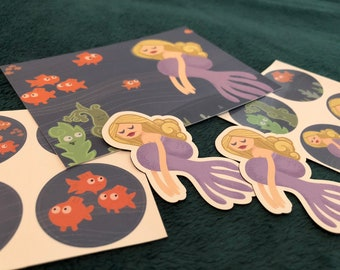 Girl in the Sea Sticker and Magnet Set (with bonus Postcard print)