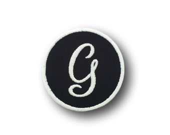 Custom Embroidered Initial Iron On Patch - Choose Your Thread Color - 3 Inch Round Patch