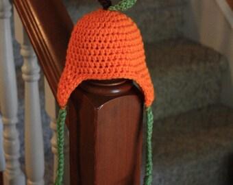 Pumpkin ear flap hat