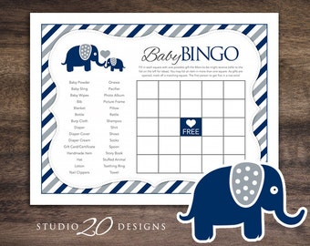 Instant Download Navy Blue Elephant Baby Shower Games, Printable Bingo Cards, Downloadable Navy Grey Boy Elephant Theme Bingo Game 22G
