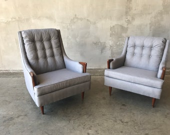 Pair his and hers mid century chairs