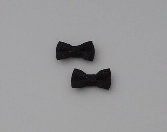 5 fabric 27x16mm black bows