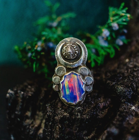 OOAK High Quality Opal Ring, Sterling Silver Ring, Opal Doublet, Aura Opal, 90's Ring, Moon Ring, Rainbow Opal Ring