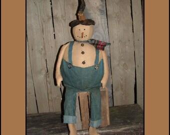 Primitive Folk Art Snowman instant dowload sewing pattern rag doll HAFAIR OFG faap