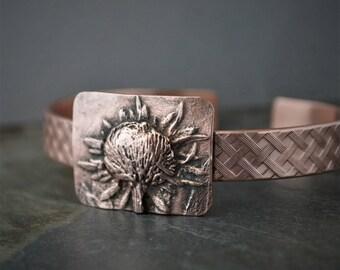Copper Cuff Bracelet, Black-Eyed Susan Prairie Wildflower, Gift for 7th Wedding Anniversary