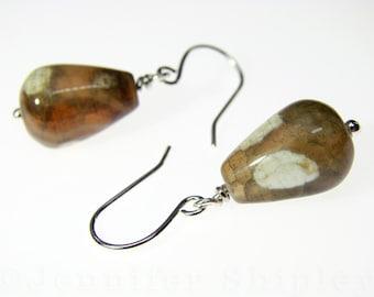 Agate Drop Earrings: Healing Yellow-Brown Gemstone Crystal Dangle Earrings Wire-Wrapped, Nickel-Free, Hypoallergenic Silver, Copper, Gold