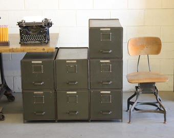 Elegant Vintage Industrial Steel Modular File Cabinets   Each Sold Separately  (Military Green)