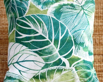 outdoor cushion, jungle leaf cover, retro 45x45 cover, tropical cushion