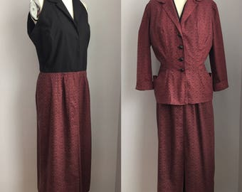 Vintage 1940s Red and Black Polka Dot Cotton Dress with Matching Jacket Size Medium