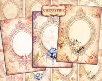 FLOWER FRAMES digital collage sheet, printable graphic design for paper craft