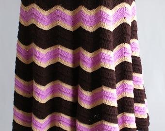 50% OFF Crochet vintage 1970s brown/cream/pink ice cream striped zig zag skirt