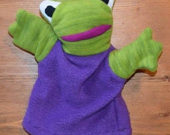Plush puppet frog camp/purple