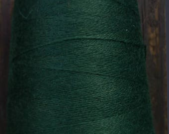 cashmere wool blend yarn 24 S/2 lace weight, forest green,   5 oz ( 150 grams)
