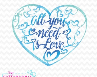 All you need is love fancy design - SVG cut file + PNG + DXF for Silhouette cameo, Cricut etc.