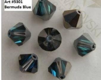 90 Swarovski BERMUDA BLUE 4mm Bicones, Article 5301, New in Package, Vintage Stock