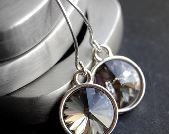 Gray Swarovski Crystal Earrings, Smokey Black Diamond Crystal Rivoli Drops, Sterling Silver Earwires