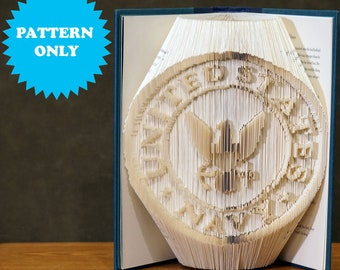 Book Folding Pattern - US Navy Emblem - Cut&Fold Combi - 350 Pages - 2 Pattern Formats - Free Tutorial - Free Practice Pattern - Gifts