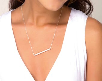 Personalized Square Tube Bar Necklace, Delicate Skinny Bar Necklace, Long Silver Bar Necklace, Silver Layering Jewelry
