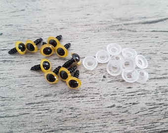 10mm Yellow Safety Eyes, Plastic Safety Eyes, Doll Eyes, Teddy Bear Eyes, Amigurumi, Amigurumi Eyes, Plush Eyes, Soft Toy Eyes, 10mm