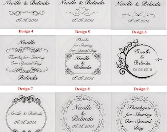 54 30mm (Transparent, Colour or Gold) or 40 35mm (Transparent Only) Personalised Wedding Bomboniere Round Envelope Labels