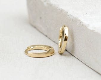 Plain, No Stones  Thin Mini Ear Huggie Hoop Earrings, GOLD - Plain cartilage hoops - Different sizes available