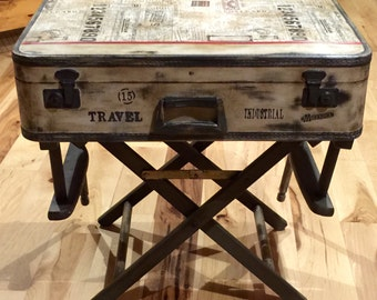 Incroyable SOLD ~ Accepting Custom Orders Rustic Industrial Nightstand End/Accent  Table Suitcase Luggage Antiqued Vintage Repurpose Distressed Painted