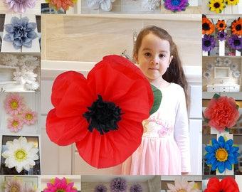 Poppy pom pom Tissue paper flower 45cm  Venue decorations Wizard of oz Remembrance day/red/black