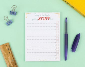 List Note Pad – Get Stuff Done – To Do List – Planner Pad – Jotter – List Notepad – Organiser – Shopping List – Eco-friendly stationery