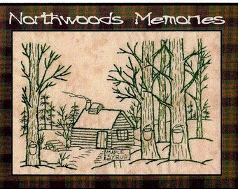 Northwoods Memories Maple Syrup- Redwork Hand Embroidery Pattern by Beth Ritter - Instant Digital Download