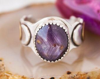 Aries Star Ruby OOAK Ring SZ 7 in Sterling Silver