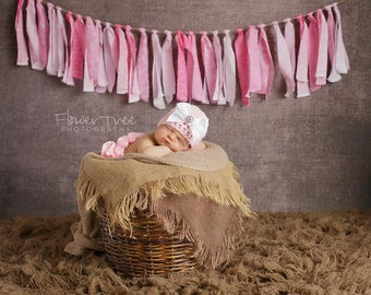 Newborn Ruffled Diaper Cover And Hat, Pink Newborn Hat, Hat With Bow, Newborn Photo Prop, Newborn Girl Hat, Hat And Diaper Cover Set