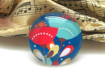 1 cabochon 25 mm glass flowers spring blue - 25 mm