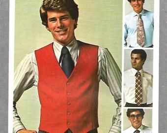 Vntg Simplicity 9745 Men's Jiffy Lined Vest And Tie Pattern, Size 42, UNCUT