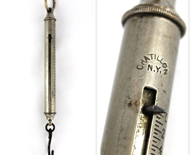 Antique Chatillon Tubular Hanging Spring Scale 40 lbs