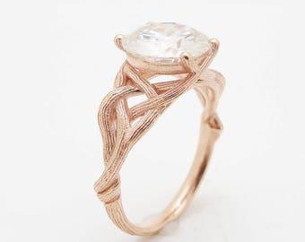 3.8CT Moissanite Twig Engagement Ring 14K Rose Gold Branch Ring Unique Twig Engagement Ring