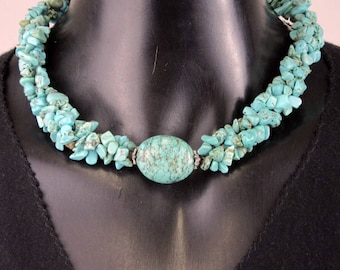 """Exquisite Beautiful High-grade Vintage Turquoise Stone 19"""" Necklace Silver Clasp"""
