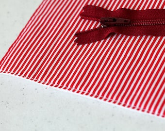 Red stripe bag, Custom, Cosmetic, zipper pouch, change purse, mini business card id holder, coin purse, small, cash envelope, kid wallet,boy
